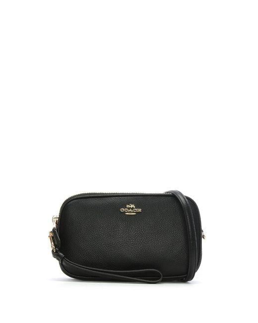 COACH - Polished Black Pebbled Leather Cross-Body Clutch Bag - Lyst