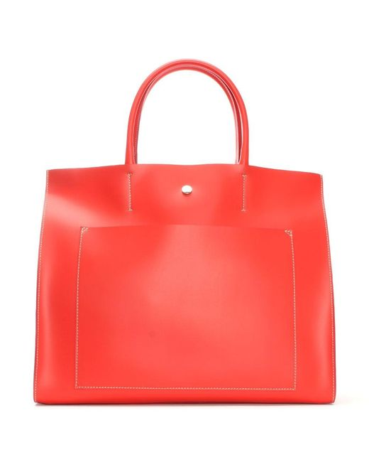Daniel | Coast Red Leather Unlined Front Pocket Tote Bag | Lyst