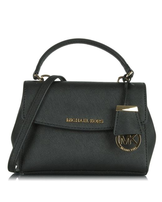 Michael Kors - Ava Mini Black Leather Cross-body Bag - Lyst