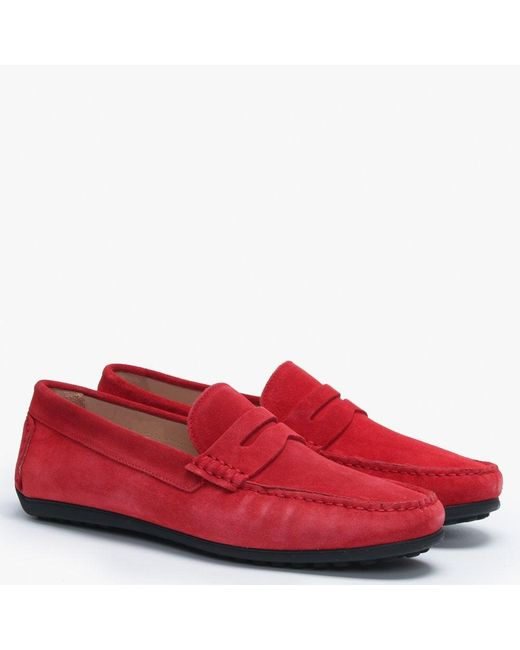 2ff2ffa8203 Lyst - Daniel Red Suede Loafers in Red for Men