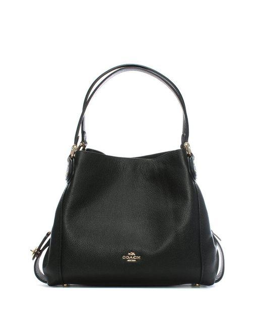 COACH - Edie 31 Black Pebbled Leather Shoulder Bag - Lyst