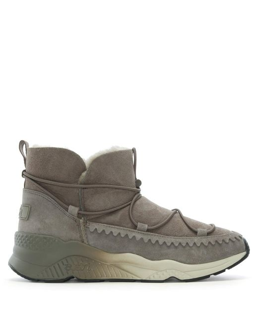 Ash Mitsouko Shearling Taupe Suede Ankle Boots