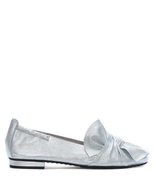 Kennel & Schmenger - Silver Metallic Leather Bow Ballet Pumps - Lyst
