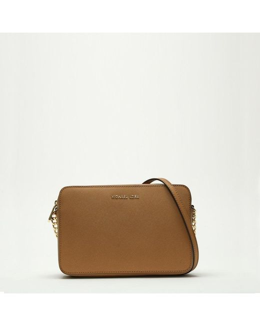 483f925fd7366 Michael Kors - Brown East West Large Luggage Saffiano Leather Cross-Body  Bag - Lyst ...