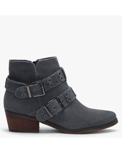Moda In Pelle Gray Bethi Grey Suede Multi Buckle Ankle Boots