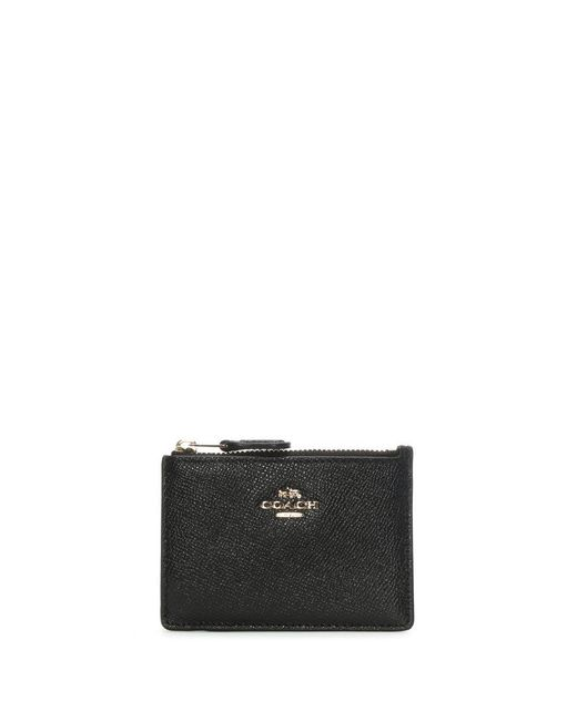 COACH - Mini Skinny Black Leather Id Case - Lyst