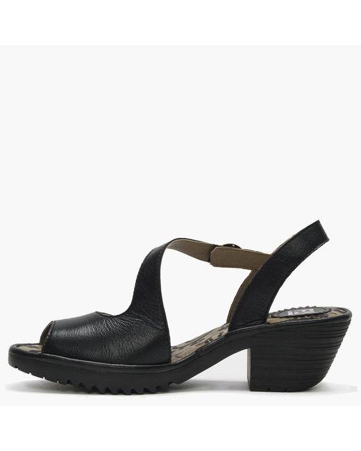 2b9242f479 ... Fly London - Wyno Black Leather Asymmetric Block Heel Sandals - Lyst ...
