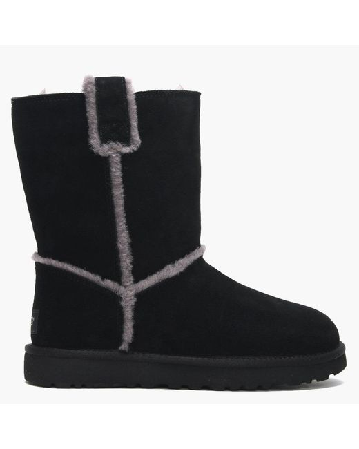 Ugg Classic Short Spill Seam Black Twinface Ankle Boots