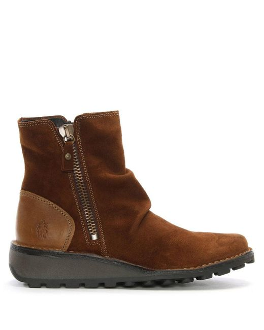 Fly London - Brown Mong Camel Suede Low Wedge Ankle Boots - Lyst