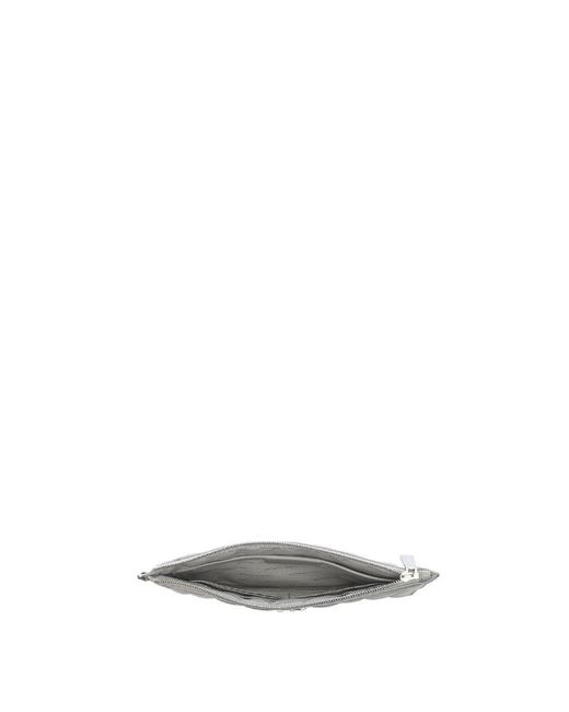 7fce3df1dde3 ... Michael Kors - Gray Flat Quilted Pearl Grey Leather Clutch Bag - Lyst  ...
