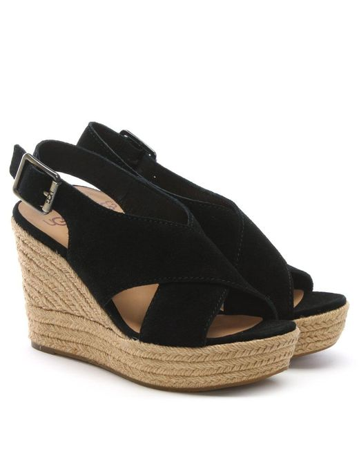 e145e5fc6fd ... Ugg - Harlow Black Suede Wedge Espadrilles - Lyst ...