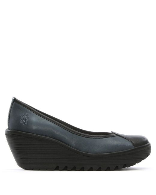 Fly London | Blue Yerb Navy Leather Wedge Shoes | Lyst