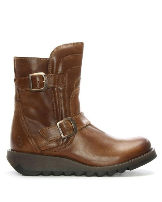 Fly London - Brown Sven Camel Leather Low Wedge Buckled Ankle Boots - Lyst