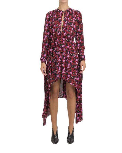 Magda Butrym   Red Gela Asymmetric Printed Silk-crepe Midi Dress   Lyst