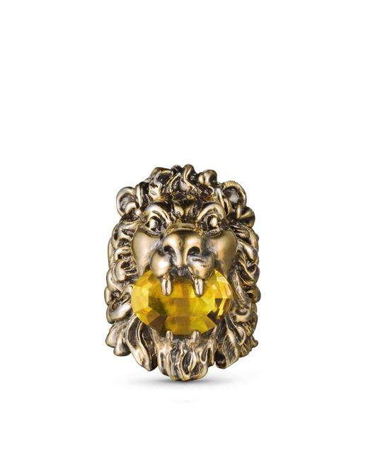 Gucci   Metallic Lion Head Ring With Crystal   Lyst