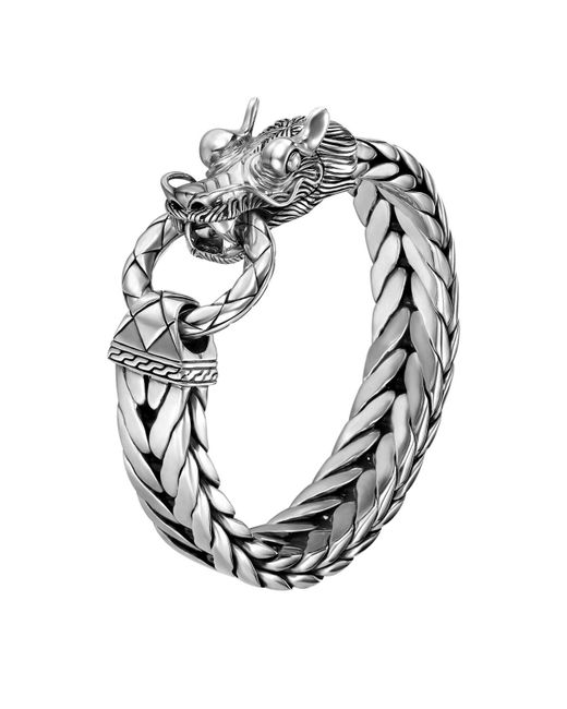 John Hardy | Metallic Men's Naga Silver Dragon Head Bracelet On Fishtail Chain for Men | Lyst