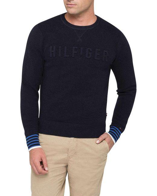 Tommy Hilfiger | Blue Falko Crew Neck Knitwear for Men | Lyst