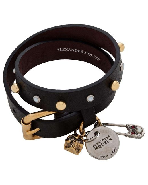 Alexander McQueen | Black Safety Pin Double Wrap Bracelet | Lyst
