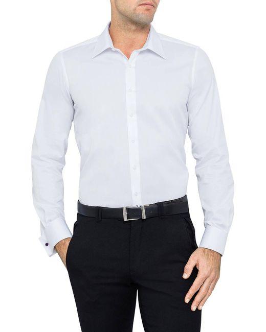 Geoffrey Beene | White Fine Twill Slim Fit Shirt Double Cuff for Men | Lyst
