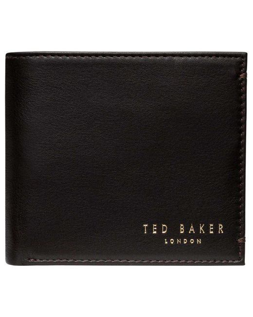 Ted Baker | Brown Logo Stud Coin Pocket Wallet for Men | Lyst