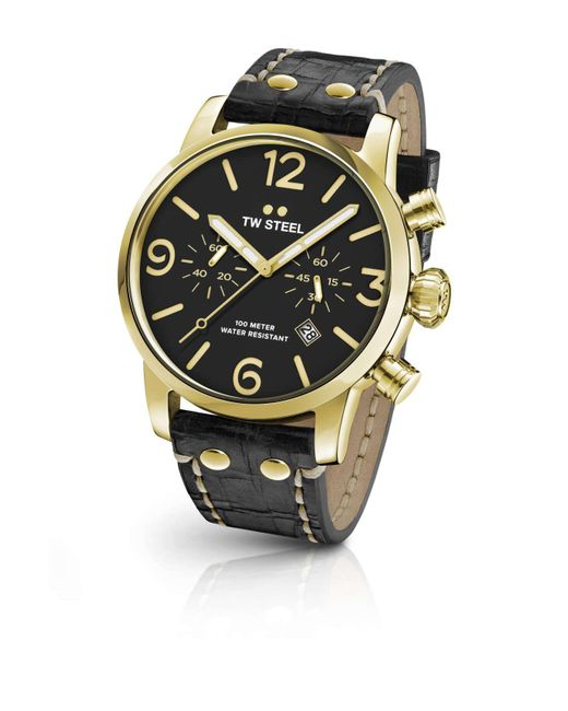 TW Steel | Metallic Maverick 48mm Gold Steel Chrono Blk Dial Blacklthr for Men | Lyst