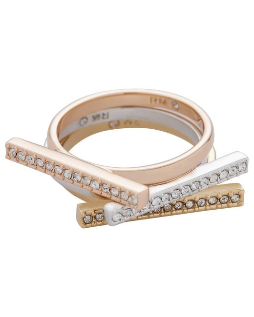 Rebecca Minkoff | Metallic Tri-color Bar Stackable Rings | Lyst
