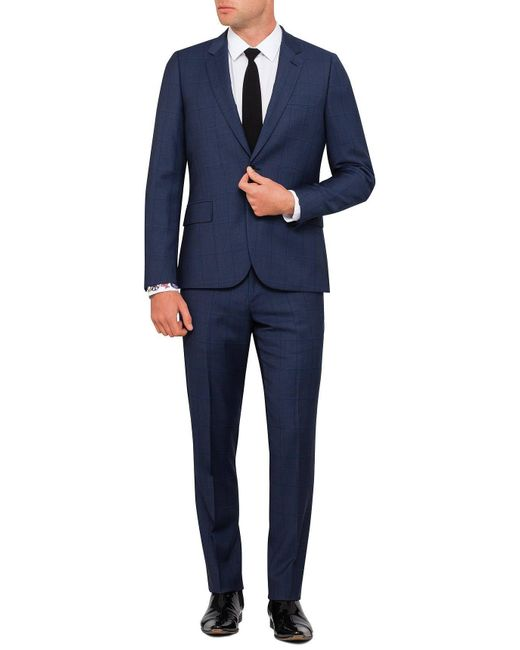 Paul Smith | Blue Wool Shark Wind Check Suit for Men | Lyst
