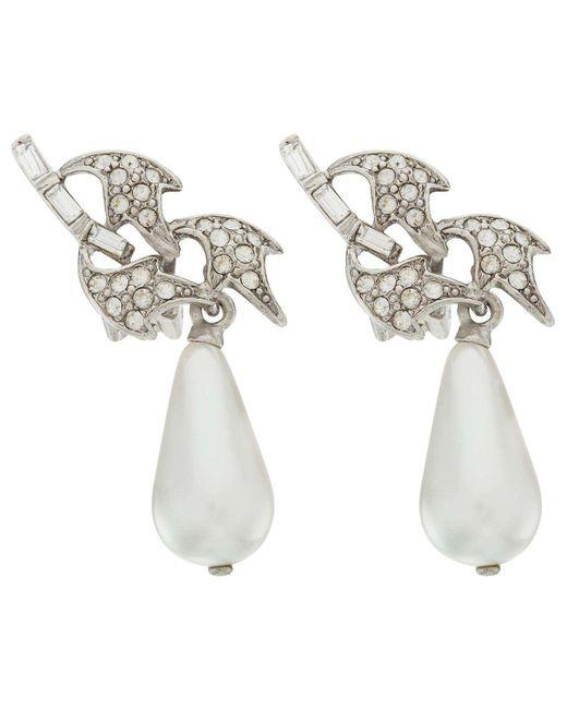 Oscar de la Renta | Metallic Crystal Leaf And Pearl C Earring | Lyst