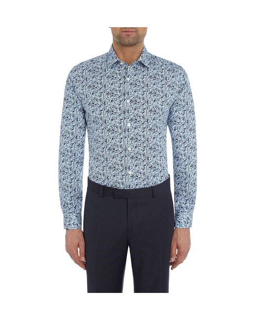Richard James - Blue Floral Print Shirt for Men - Lyst