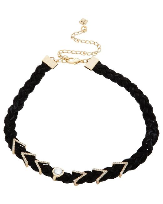 Rebecca Minkoff | Metallic Arrows And Stone Charms On Braided Leather Choker | Lyst