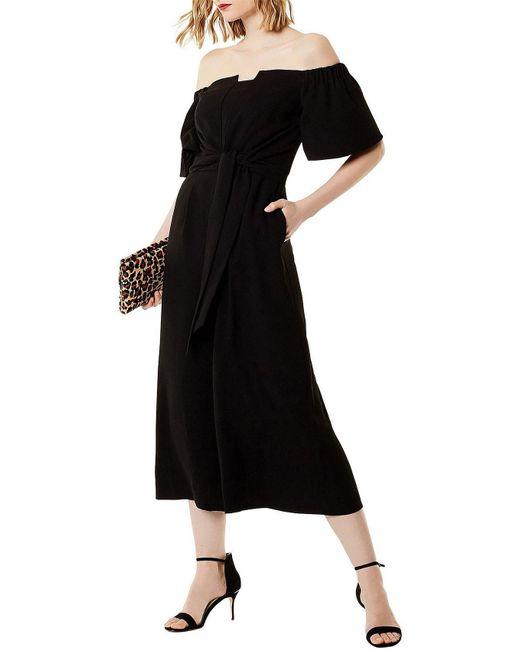 Karen Millen - Black Wide Leg Bardot Jumpsuit - Lyst