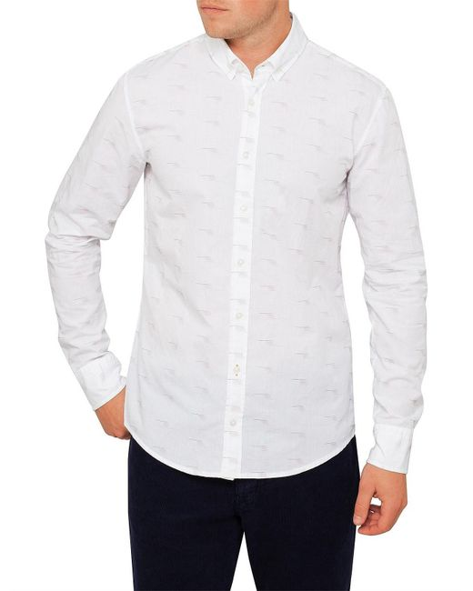 BOSS Orange - White Epreppy_1 Fil Coupe Shirt for Men - Lyst
