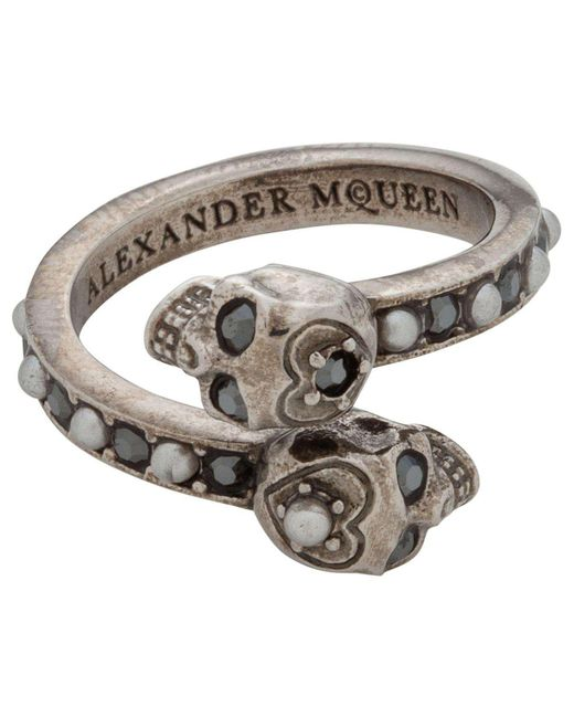 Alexander McQueen | Metallic Jew.twin Skull Ring | Lyst