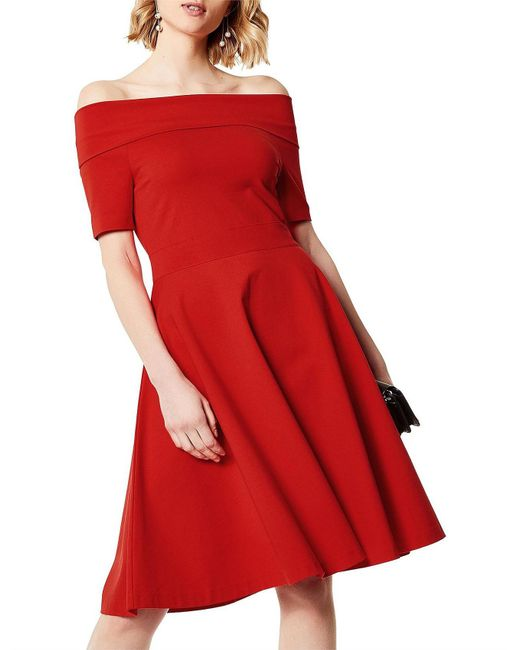 Karen Millen - Red Bardot Dress - Lyst