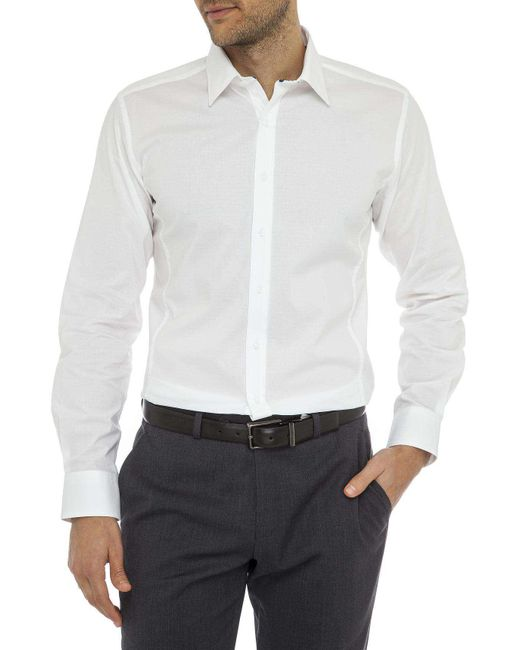 Geoffrey Beene | White Speckle Stretch Dot Body Fit Shirt for Men | Lyst