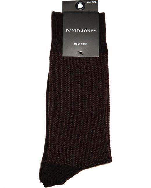 David Jones - Black Birdseye Text Crew for Men - Lyst