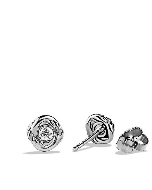 David Yurman | Infinity Earrings With Diamonds In 18k White Gold | Lyst