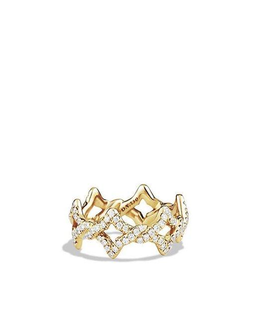 David Yurman   Metallic Venetian Quatrefoil Ring With Diamonds In 18k Gold   Lyst