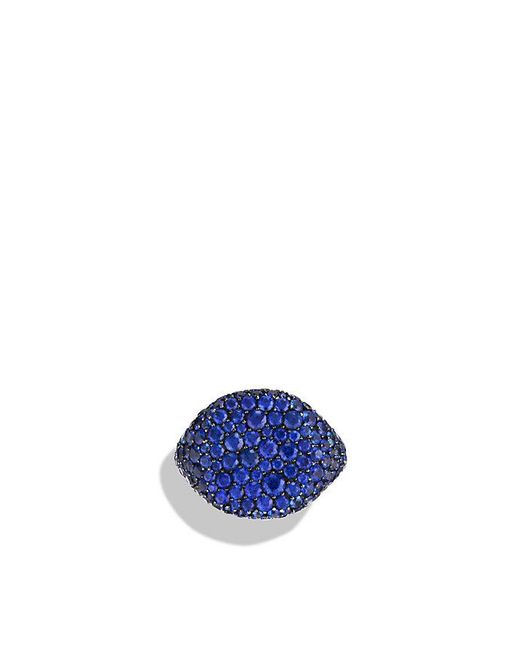 David Yurman | Blue Pavé Pinky Ring With Sapphires In 18k White Gold | Lyst