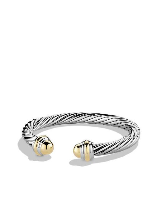 David Yurman - Metallic Cable Classic Bracelet With 14k Gold, 7mm - Lyst