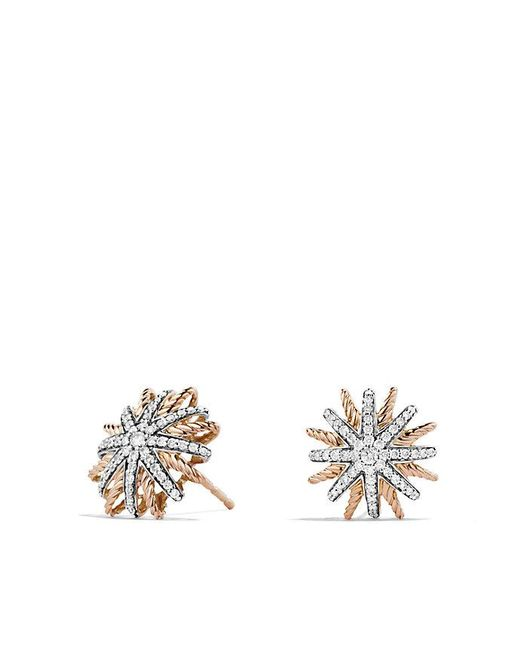 David Yurman | Pink Starburst Earrings With Diamonds In 18k Rose Gold, 14mm | Lyst