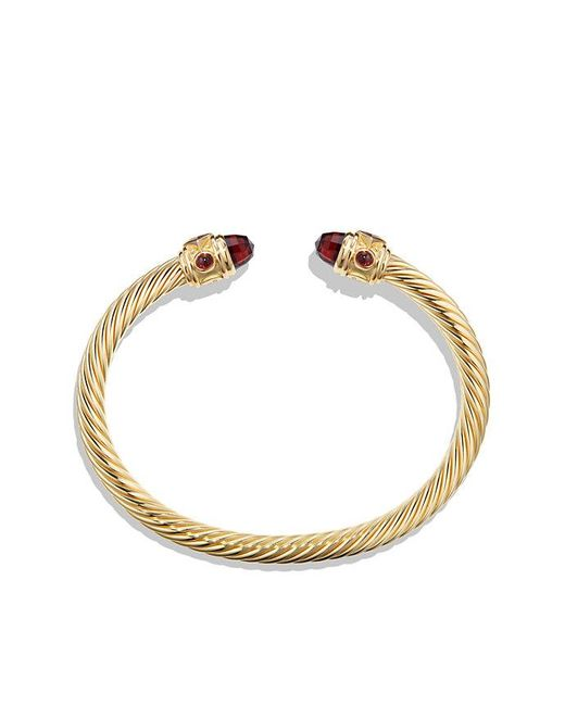David Yurman | Metallic Renaissance Bracelet With Garnet In 18k Gold, 5mm | Lyst
