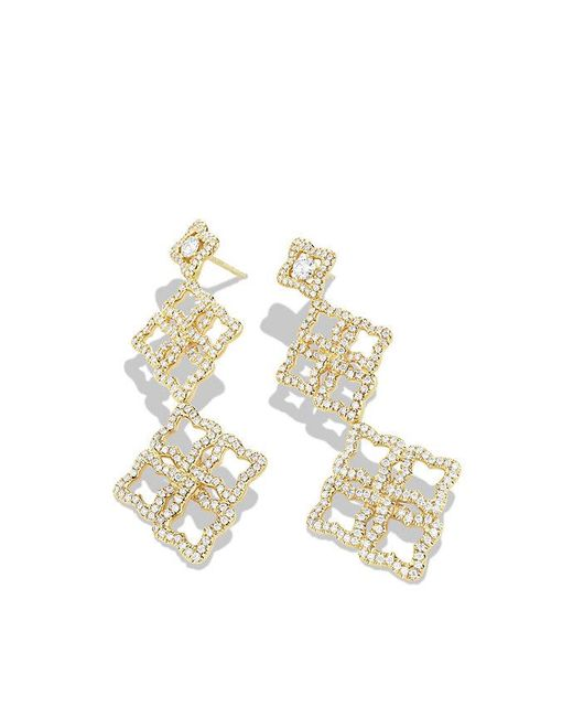 David Yurman | Metallic Venetian Quatrefoil Double-drop Earrings With Diamonds In 18k Gold | Lyst