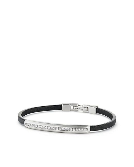 David Yurman - Multicolor Pavé Leather Id Bracelet With Diamonds for Men - Lyst