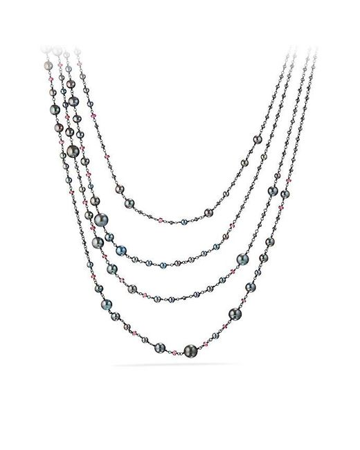 David Yurman - Metallic Oceanica Pearl And Bead Link Necklace With Grey Pearls And Hematine - Lyst