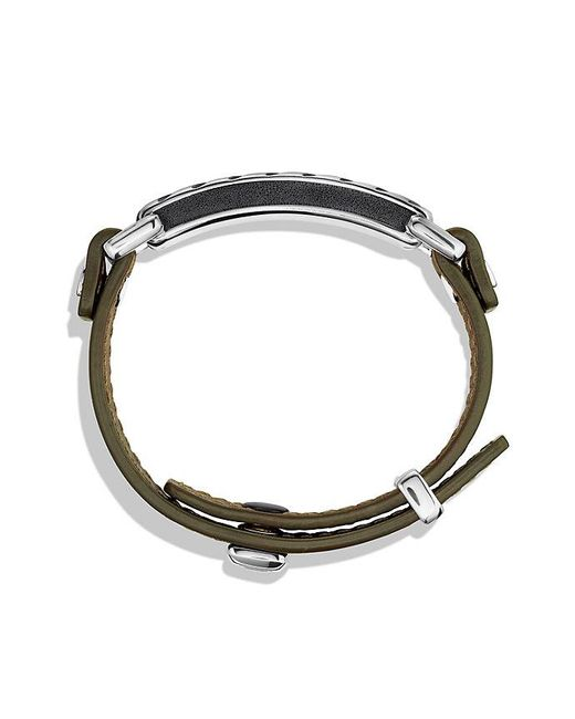 David Yurman - Metallic Modern Cable Id Bracelet In Army Green Leather for Men - Lyst