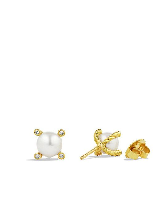 David Yurman - White Pearl Earrings With Diamonds In 18k Gold - Lyst