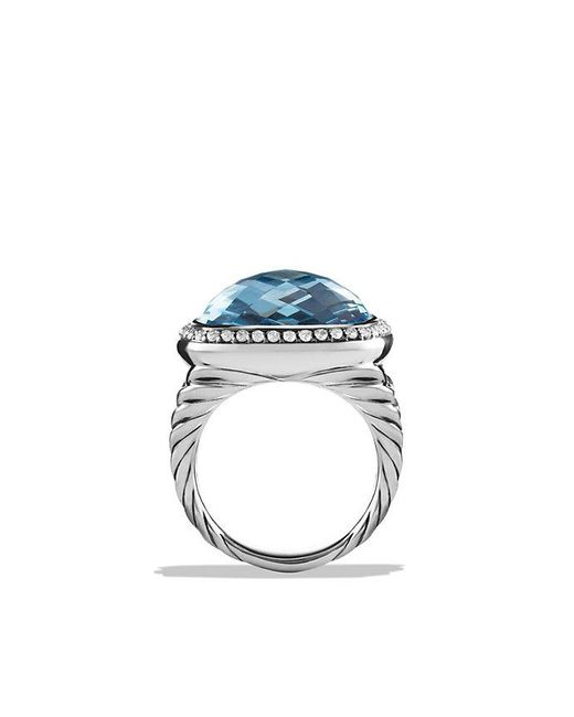 David Yurman - Albion® Ring With Blue Topaz And Diamonds, 17mm - Lyst
