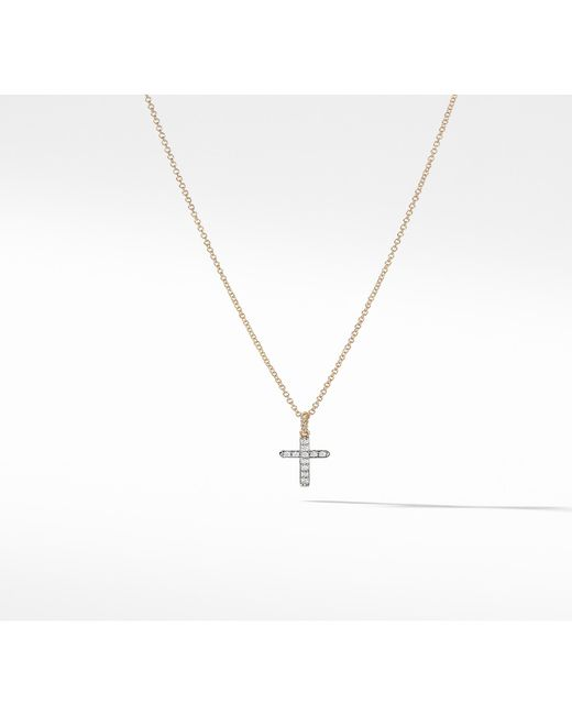 David Yurman - Metallic Cable Collectibles Cross Necklace With Diamonds In 18k Gold - Lyst