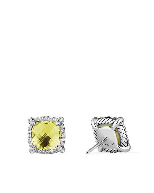 David Yurman - Multicolor Chatelaine® Pavé Bezel Earring With Lemon Citrine And Diamonds, 9mm - Lyst